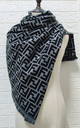 Grey & Black Letters Striped print Scarf by FS Collection