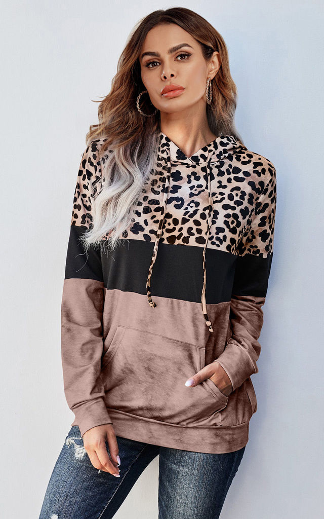 Oversized Black Striped With Animal Print Hoodie Top by FS Collection