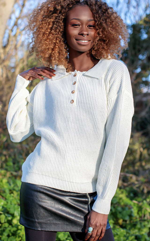 White Loose Fit Collared Jumper by In The Knitwear