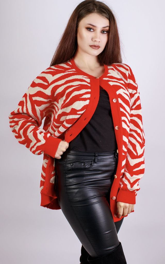 Red Zebra Chunky Knit Cardigan by In The Knitwear