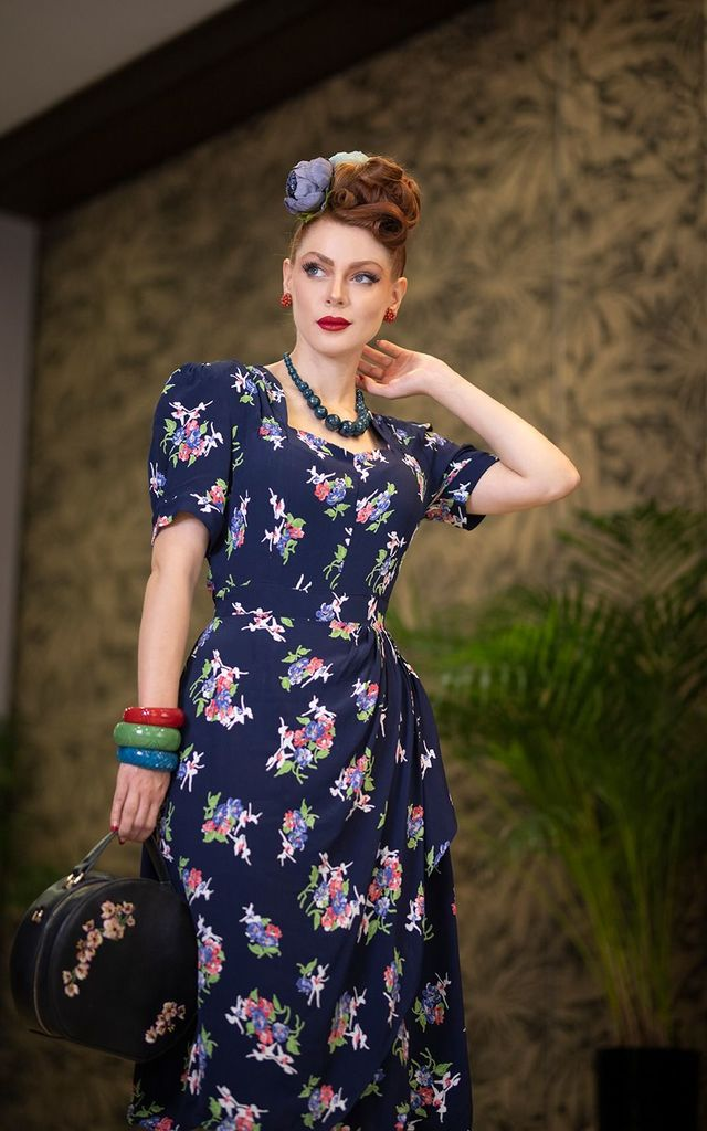 Shelly Dress in Navy Floral by The Seamstress of Bloomsbury