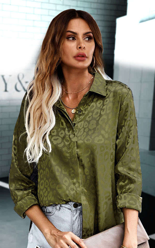 Leopard Print Jacquard Satin Shirt In Olive Green by FS Collection