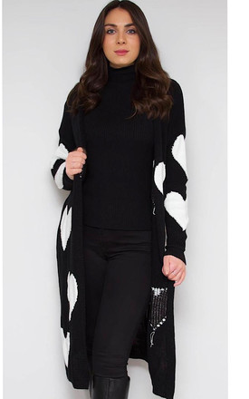 Black & White Heart Print Cardigan by Styled By Grazia