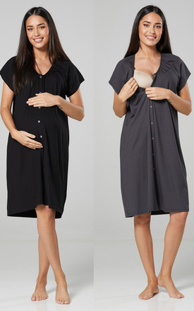 Women's Maternity Breastfeeding Nightdress for Labour 2-pack Black & Graphite by Chelsea Clark