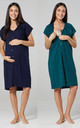 Women's Maternity Breastfeeding Nightdress for Labour 2-pack Navy & Dark Green by Chelsea Clark