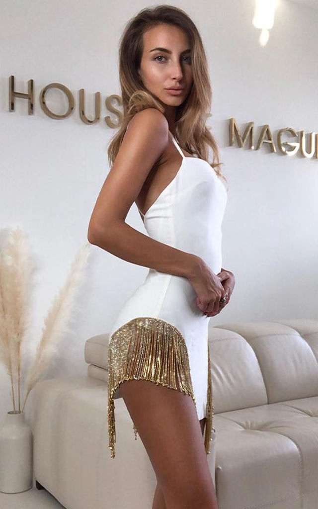 Mirna White Open Back Crystal Fringe Party Dress by HOUSE OF MAGUIE