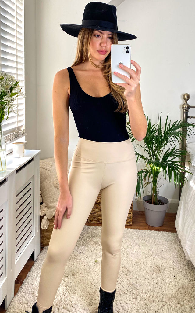 High Waist Leather Look Leggings in Light Beige by Another Style London