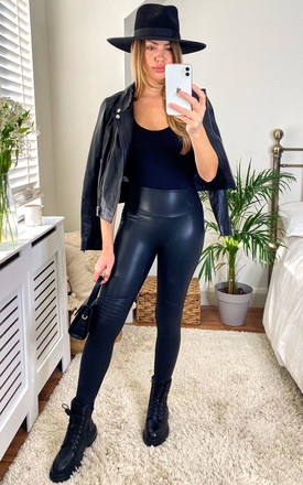 Biker Detail Leather Look Leggings in Black by Another Style London