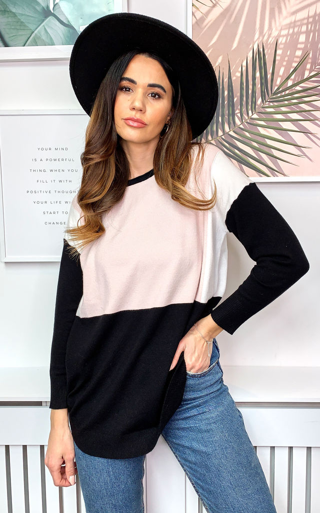 Colour Block Jumper in Pink and Black by Bella and Blue
