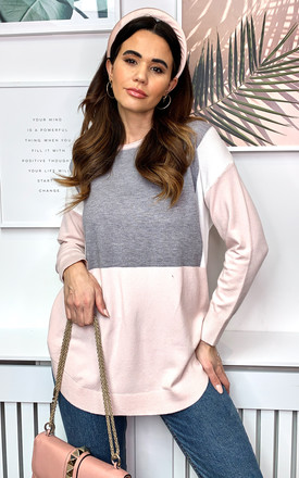 Colour Block Jumper In Grey And Pink by Bella and Blue Product photo