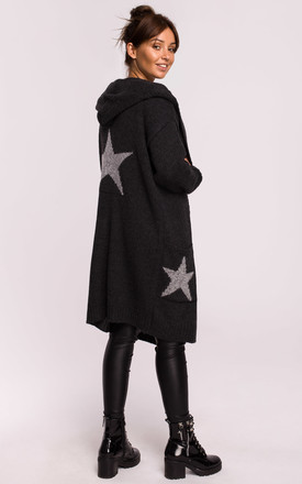 Hooded Star Longline Cardigan Graphite by MOE