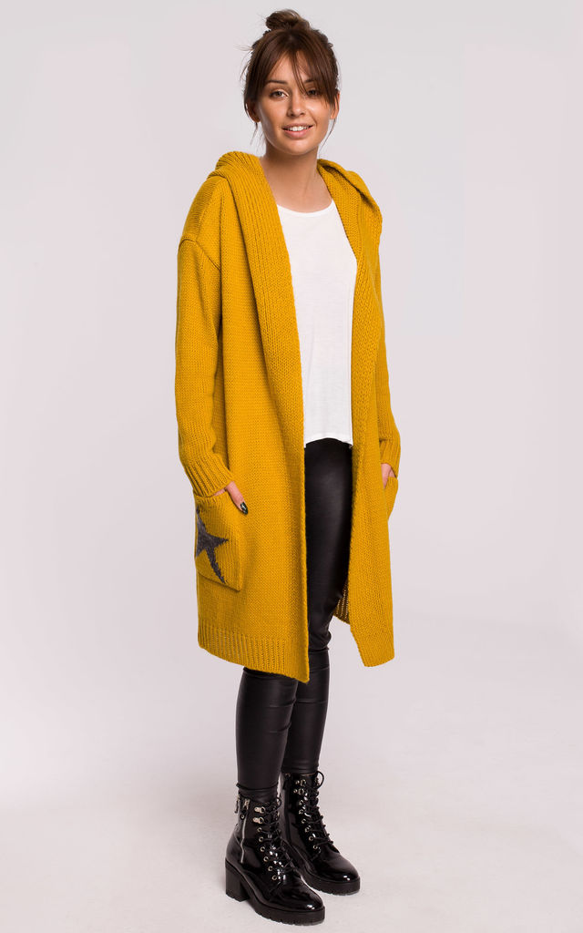 Hooded Star Longline Cardigan Yellow by MOE
