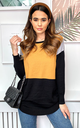 Colour Block Jumper in Mustard and Black by Bella and Blue