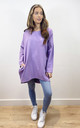 Plain Oversized Sweatshirt Dress in Lilac by Love