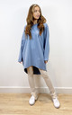 Plain Oversized Sweatshirt Dress in Blue by Love