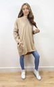 Plain Oversized Sweatshirt Dress in Beige by Love