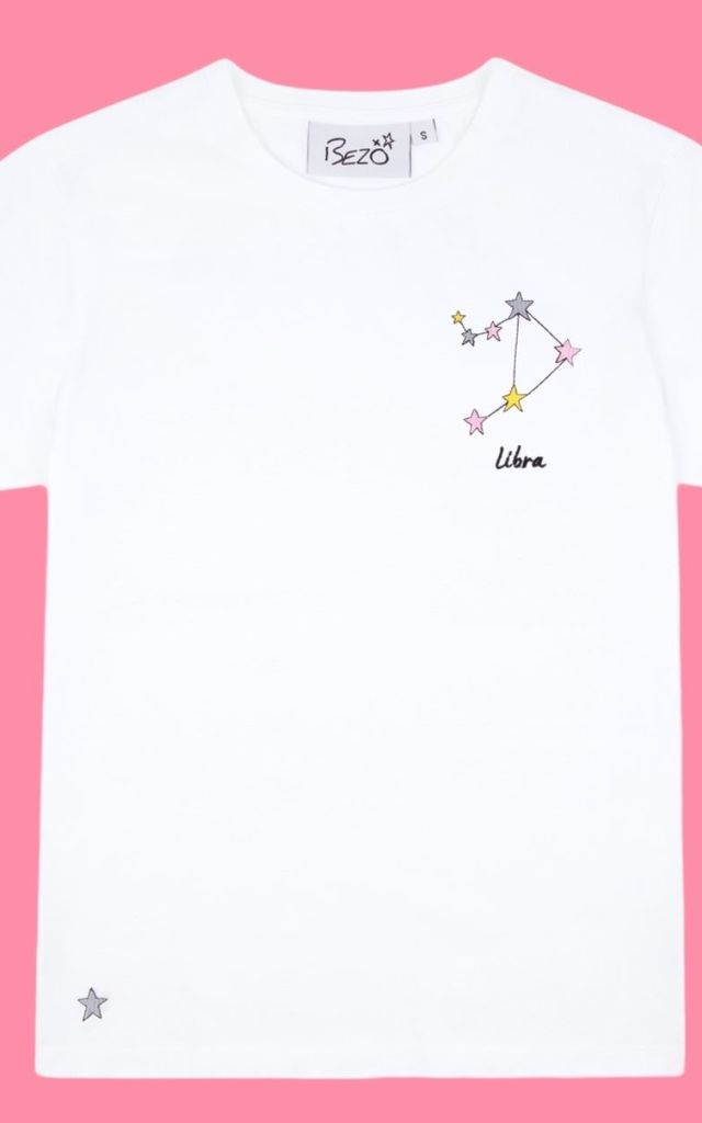 Libra White Embroidered Personalised Zodiac T-shirt by Bezo London