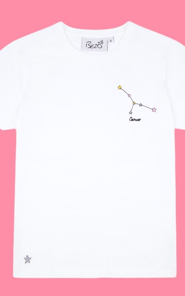 Cancer White Embroidered Personalised Zodiac T-shirt by Bezo London
