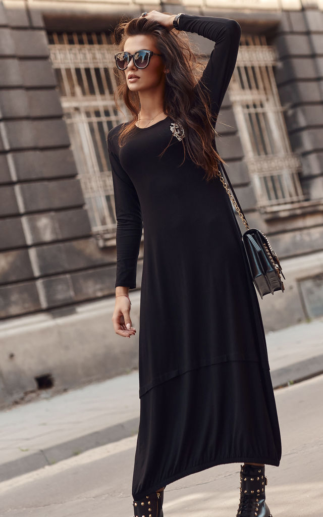 Maxi Dress with Logo Patch in Black by Makadamia