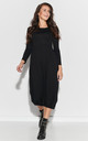 Long Dress with a Drawstring at Bottom in Black by Makadamia