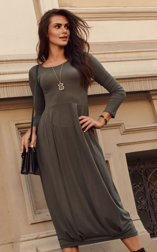 Long Dress with a Drawstring at Bottom in Khaki by Makadamia