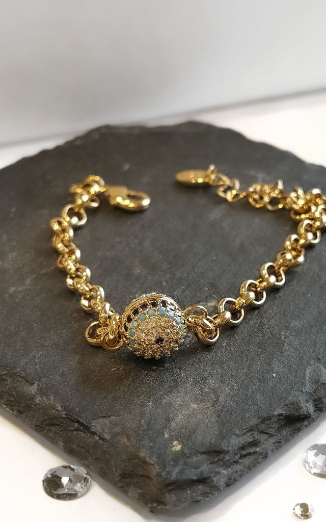 Evil Eye Chain Crystal Embellished Gold Bracelet by Azzediari Clothing