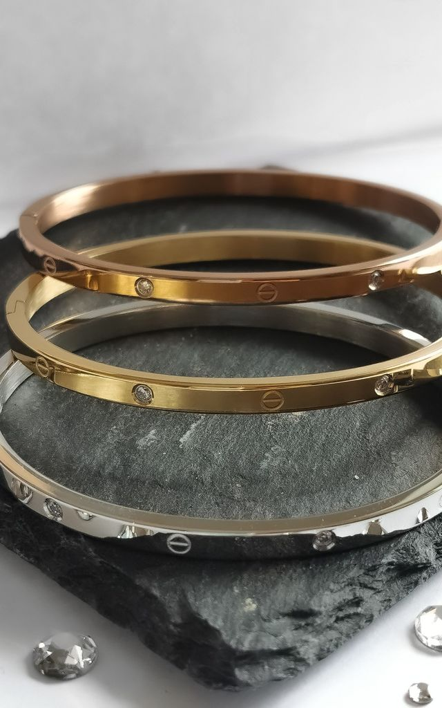 Stainless Steel Bangle with Crystals (Thin) | Rose Gold by Azzediari Clothing