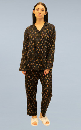 Passion Pyjama Trouser Set in Black Gold by Oya London