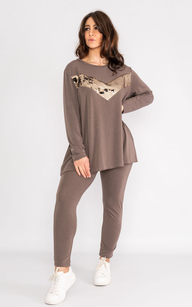 Taupe loose fit loungewear set with sequin 'V' Pattern. by Lucy Sparks