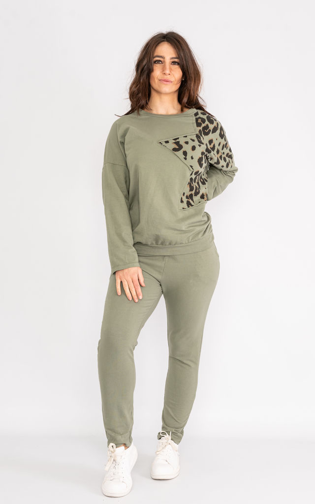 Khaki long sleeve loungewear set with animal print shoulder. by Lucy Sparks