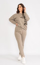 Taupe long sleeve loungewear set with animal print shoulder. by Lucy Sparks