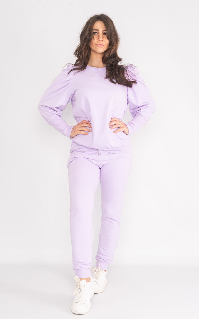 Purple long sleeve puff shoulder loungewear set. by Lucy Sparks