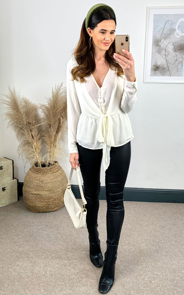 Jordie White Wrap Button Plain Blouse Top by Collectif Clothing