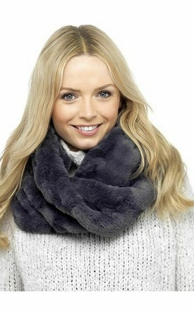 Grey Luxury Faux Faux Snood Scarf by BB Lingerie