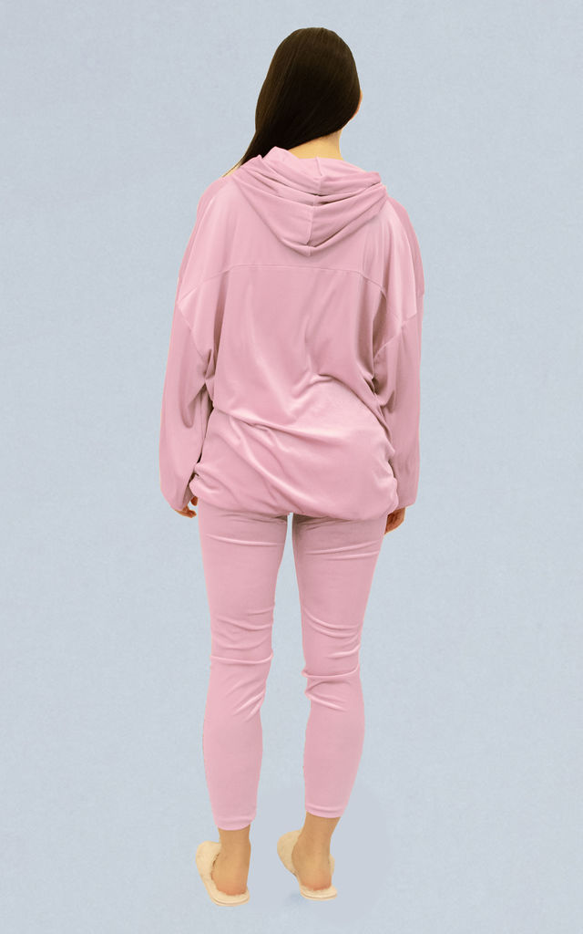 Paris Velour Hooded Tracksuit in Baby Pink by Oya London