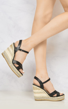 Laila Espadrille Open Toe Diamante Detail Anklestrap Wedge In Black by Miss Diva