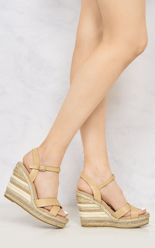 Laila Espadrille Open Toe Diamante Detail Anklestrap Wedge In Tan by Miss Diva