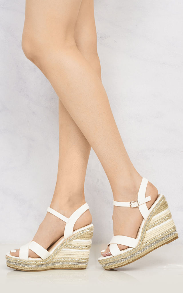 Laila Espadrille Open Toe Diamante Detail Anklestrap Wedge In White by Miss Diva