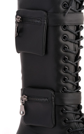 Belinda 2 Side Zip Pocket Lace Up Calf Boot In Black by Miss Diva