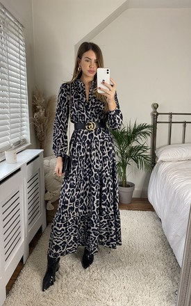 Animal Print Black Long Sleeve Tiered Maxi Dress by Gini London Product photo