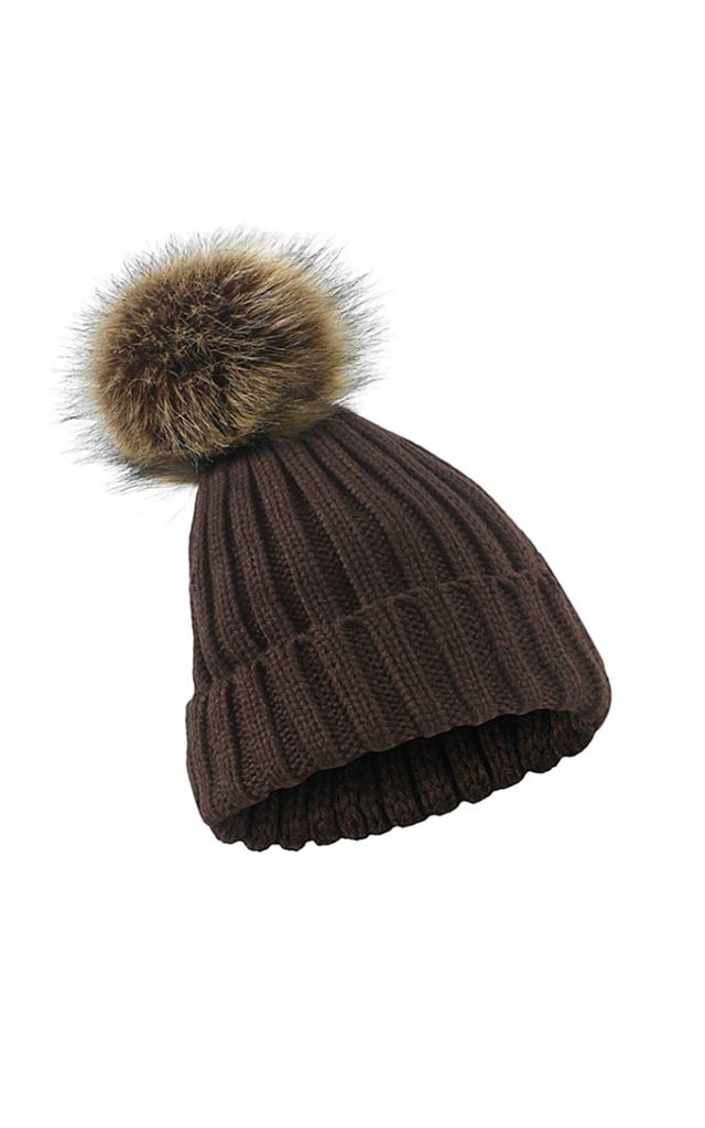 Chocolate Brown Faux Fur Pompom Hat by White Leaf