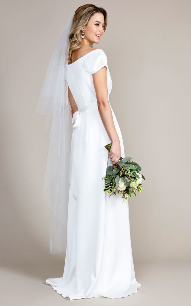 Long Cut Edge Wedding Veil in Ivory by Alie Street London