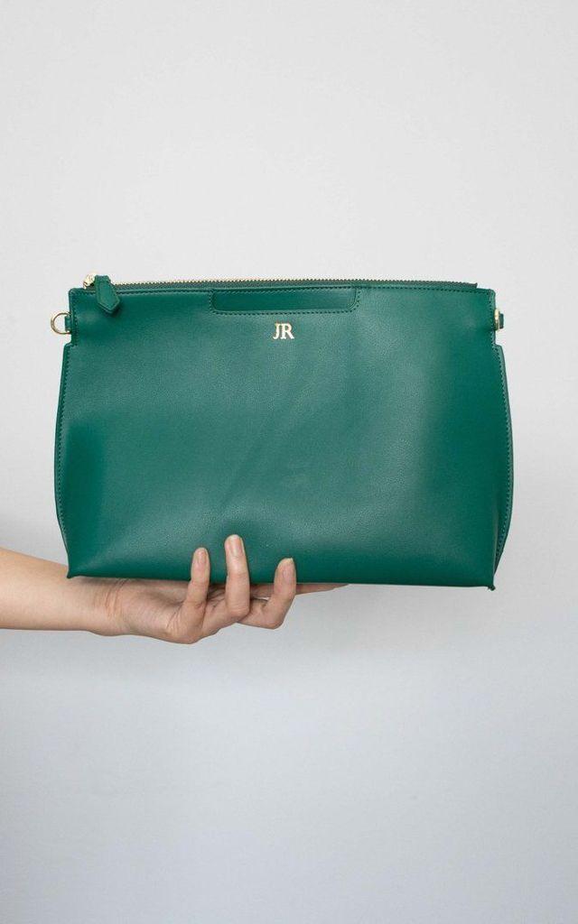 'Palermo' Emerald Smooth Leather Crossbody Clutch Bag by Azurina