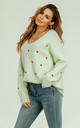 Embroidery Red Heart V Neck Jumper In Mint Green by FS Collection