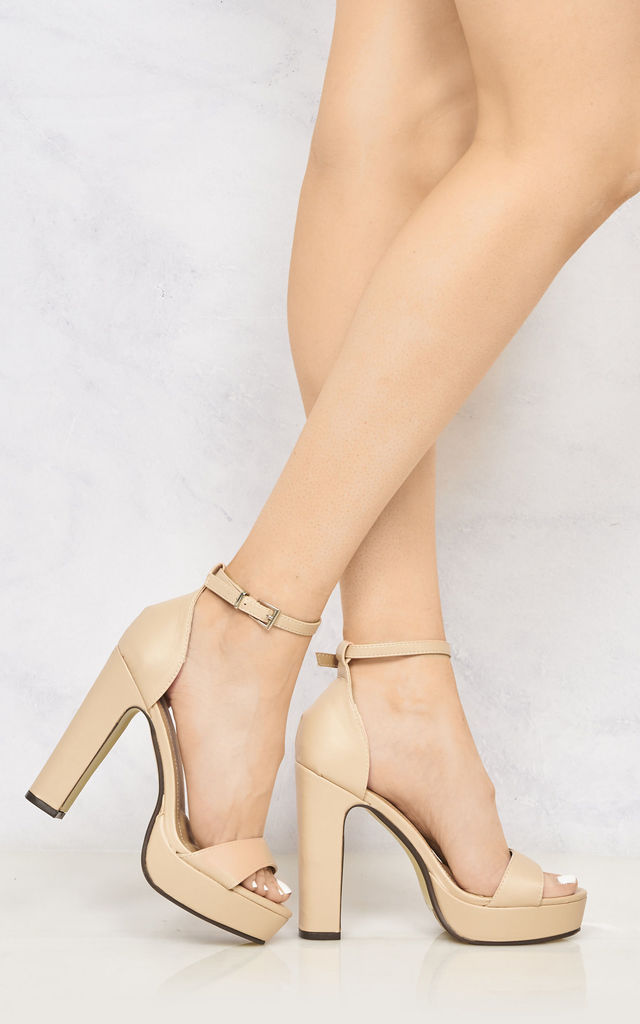 Moreell Barely There Platform Anklestrap Block Heel In Nude Matt by Miss Diva