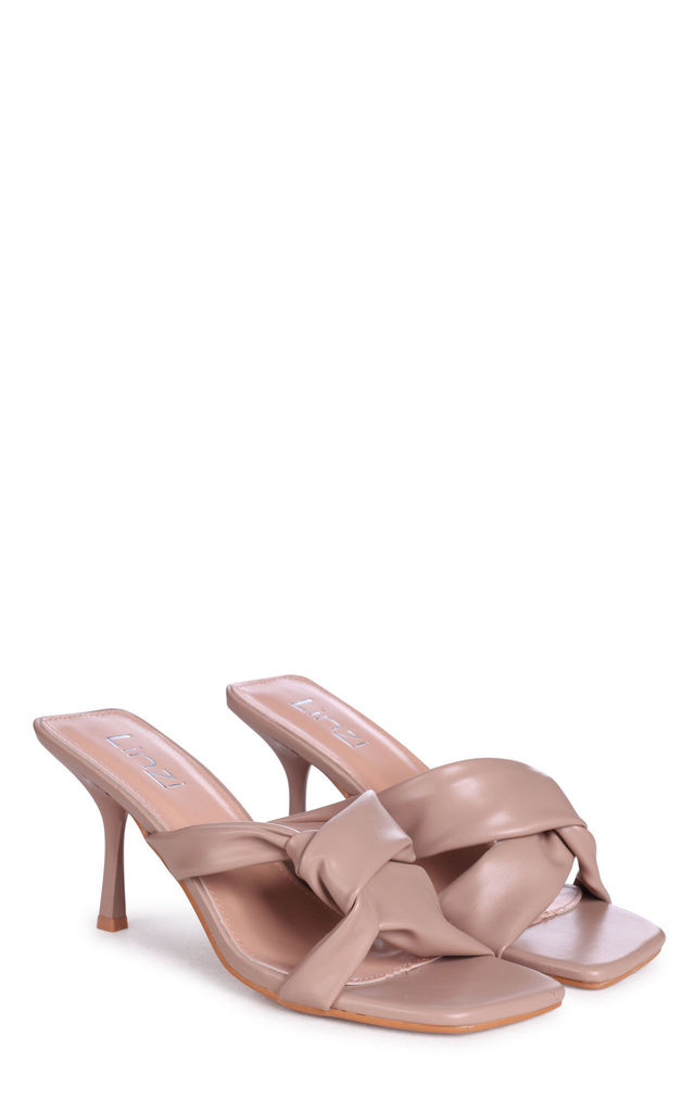 Clara Mocha Faux Leather Knotted Design Square Toe Mule by Linzi