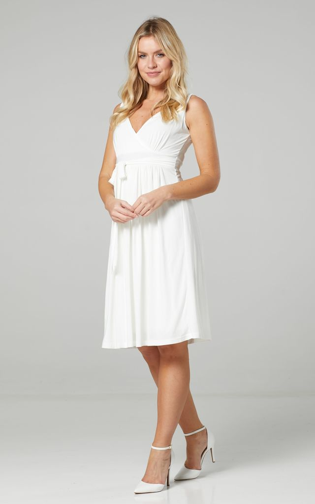 Women's Wedding Bridesmaids Midi Wrap Dress in White by Chelsea Clark