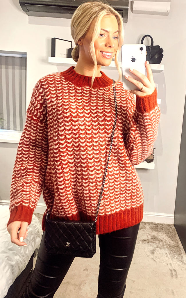 Oversized Knitted Jumper in Red by ANGELEYE