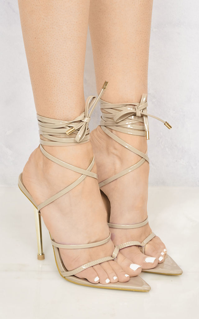 Fran Toepost Metal Heel Strappy Sandal In Nude Patent by Miss Diva