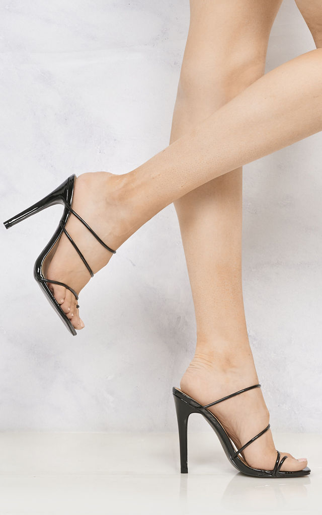 Miracles Toe Ring Strappy Mule In Black by Miss Diva
